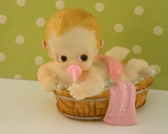 Baby Girl in Tub Cake Topper/ Favors/ Baby Shower/ 1st Birthday