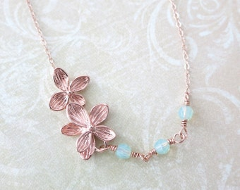 Rose Gold Flower Necklace -  delicate rose gold filled chain, garden, Wedding, bridesmaid, best friends -N0034RG
