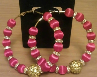 Love and Hip Hop and Basketball wives inspired hoop with red and gold beads