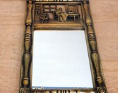 Vintage Wall Mirror - Syroco Gold Mirror Colonial America Scene - circa 1970 Wall Decor Mirror
