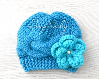 Newborn Knit Baby Beanie, Blue Knit Baby Girl Cable Beanie, Cute Baby Hat, Blue Turquoise Cable Baby Beanie, MADE to ORDER