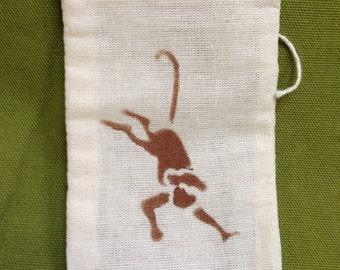 Sale Item! Hand Stenciled Monkey Muslin Favor Bags (Set of Ten)