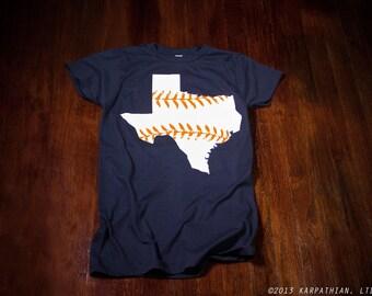 Texas baseball Ladies junior fit t-shirt Navy blue shirt with orange and white print