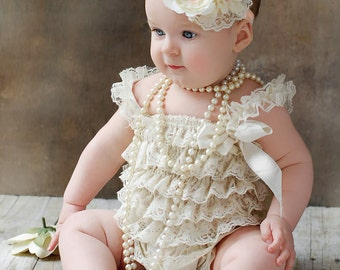 Baby lace romper,2 pieces Ivory peach  lace romper set. Lace Petti Romper and  headband, Baby Girl Photo Prop