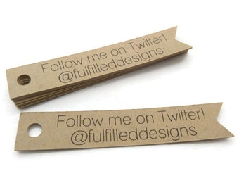 75 Branding Tags - Custom Tags - Follow Me Tags - Flag Tags - 2.5 x 0.5 in - Social Media Tags - Personalized Tags - Shop Tags BT16