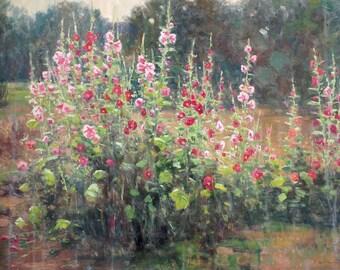 Karl Thomas Plein Air Painting Oil on Canvas Hollyhocks Utah Flowers Large 30 x 40