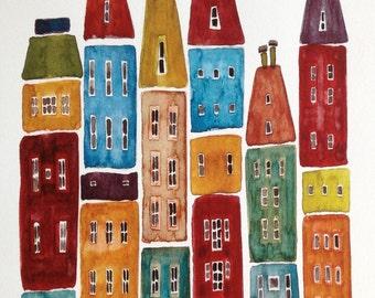 City Blocks, bright colors, watercolor and gouache, buildings, print of original painting