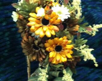 Wicker Fan Chair Flower Arrangement Fall Silk Flowers