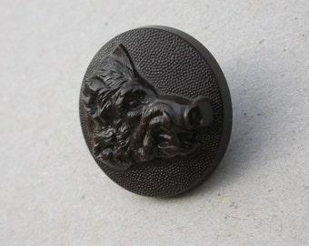 Lot 2pcs French antique metal button bakelite button  hunt hunting button boar deer horse hunting dog metal 1900s art nouveau buttons