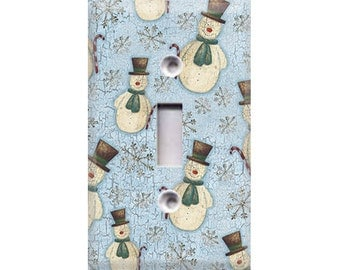 Country Snowmen Light Switch Cover