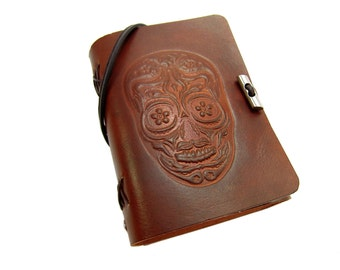 Leather book  - soft OX Sugar Skull II Lion - A6 - 400 pages - diary of Vicky's World