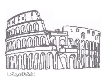Cross stitch pattern Colosseum Rome monument Italy