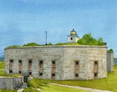 Clark's Point Lighthouse on Civil War Fort Rodman, Fort Taber Park, New Bedford, MA. Matted prints & 5x7 notecards of original watercolor.