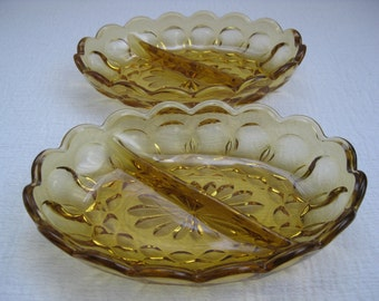 Set of Two Vintage 1970's Fairfield Oval Amber Glass Divided Dishes Anchor Hocking