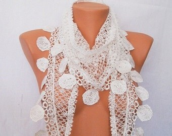White lace scarf, spring, summer, lace scarf, scarf, shawl, scarf yarn quality, the female attachment