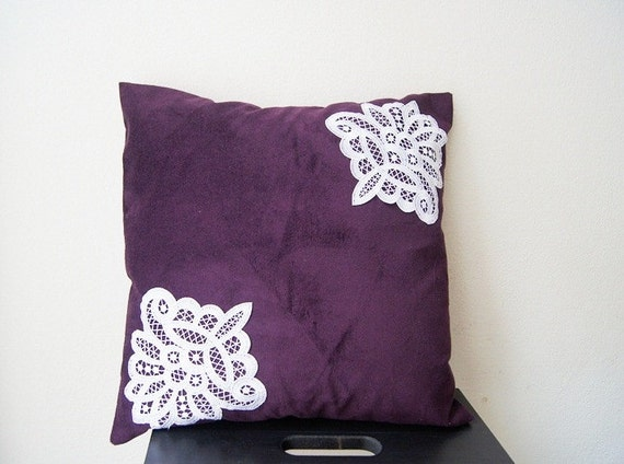 Lace Throw Pillow Covers : PILLOW / Purple Pillow Cover Lace Throw Pillow Pillow Cover