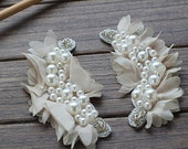Beaded Collars Pearl Chiffon Lace Appliques Corsage Patches For Wedding Dress Costume Veil Bridal Headware Supplies 2 Pcs