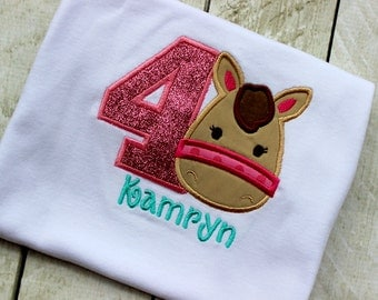 pony birthday shirt toddler girl cowgirl horse shirt with number pink and aqua cowgirl birthday pony head shirt with number horse shirt