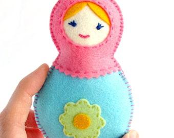 Felt matryoshka, Baby rattle, Nesting doll, Russian doll, Toy