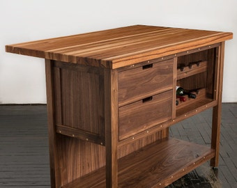 Walnut Island Cabinet with Hickory Butcher Block Top