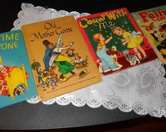 Lot of Vintage Children's Books- Felix the Cat, Old Mother Goose, Sleepy Time for Everyone, Count with Me