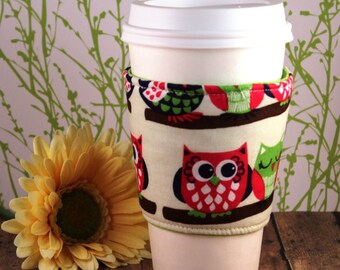 Fabric Coffee Cozy / Owls on Branches Coffee Cozy / Owls Coffee Cozy / Coffee Cozy / Tea Cozy