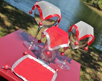 Wine Glass Covers / Red and Gray Chiffon Trimmed in Satin (Set of 4)