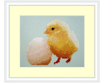 Chick or the egg, Cross Stitch Kit baby chicken, realistic, farm