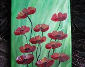 Red poppies, Acrylic painting, canvas art, flower painting, painting, red,