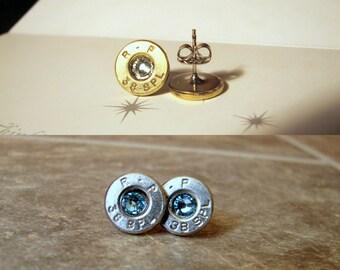 FREE SHIPPING -Thin Bullet Earrings- Birthstone Earrings- Ammo Earrings- Cowgirl- Redneck- Eco Friendly- Stud Earrings- Bullet Jewelry