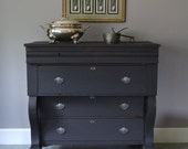 Antique American Empire Dresser in Seal Gray Milk Paint and Steel Bow Tie Pulls