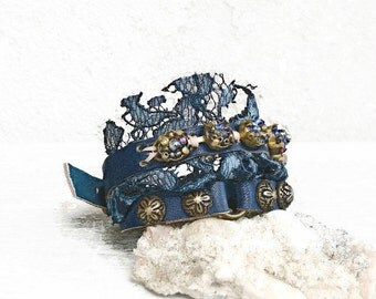 Navy blue leather bracelet, blue wrap bracelet, lace leather cuff, boho bracelet, studded cuff bracelet