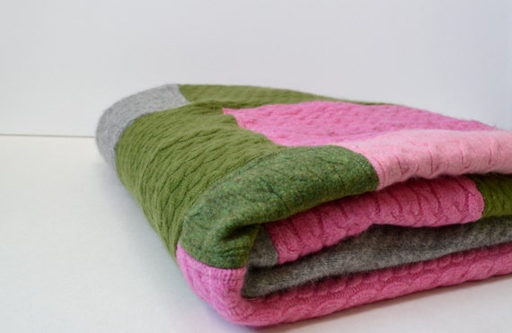 Cashmere Blanket Throw Patchwork Wool Quilt Made Of Upcycled