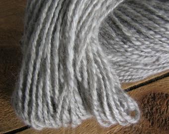 Handspun Yarn, Lincoln Longwool and Angora, Natural