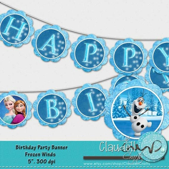 Frozen Birthday Banner Printable Frozen Banner Party By: Frozen Winds Inspired Birthday Party Printable Banner Blue
