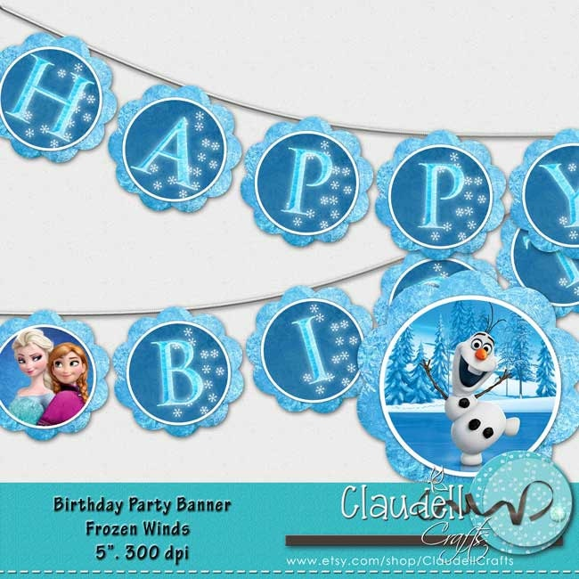 Frozen Winds Inspired Birthday Party Printable Banner Blue