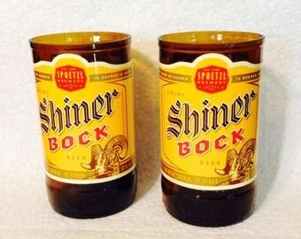Shiner Bock Beer Bottle Drinking Glasses