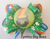 "LAST ONE! Cynthia Dog Bows - St. Patrick's ""Pot O'Gold""  Rainbow Boutique Dog Bow"