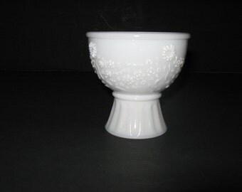 Vintage Avon Milk Glass Bird Bath Candle Holder Compote