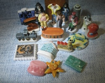 Assorted French Feve Lot of 20 Feves Porcelain Figurines Miniatures