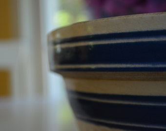 vintage yellowware yellow ware  blue and white banded mixing batter bowl