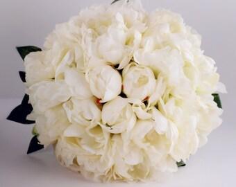 "Elegant Large Peony Bridal bouquet 11""x 10""-natural silky ivory peony"