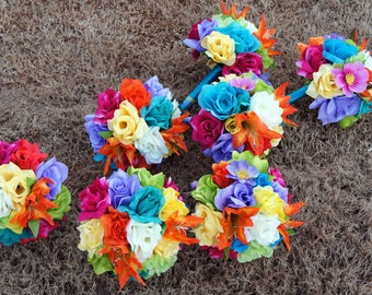 7 Bouquets &6 boutonnieres-tropical rainbow wedding bouquets and boutonnieres