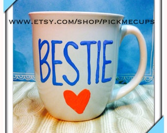 Bestie coffee mug - besties handpainted coffee mug- love you- love gift-