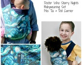 Doctor Who TARDIS and van Gogh Starry Night Mei tai baby carrier and Baby Doll Carrier Set, Mommy and Me Babywearing, Matching Mei Tai Set