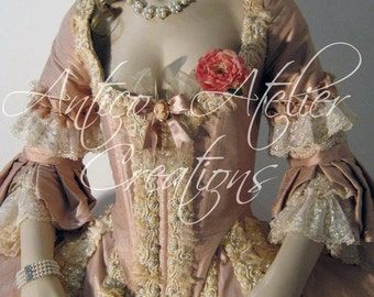 18 Century Rococo  French Court Dress - abito settecentesco donna XVIII sec, Marie Antoinette dress,