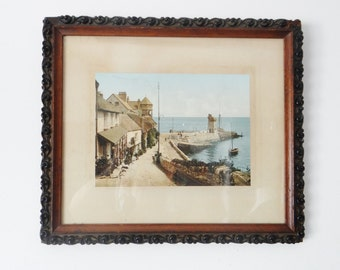 Vintage Photograph of Devon, Harbour Port, Lynmouth, in Carved Wooden Frame - Photochrom - Circa 1890's
