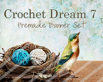 "Banner Set - Shop banner set - Premade Banner Set - Graphic Banners - Facebook Cover - Avatars - Bisiness Card -  "" Crochet Dream 7"""
