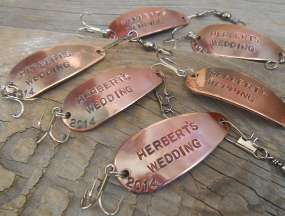 Set of 6 groomsmen gifts for wedding party personalized for Engraved fishing lures