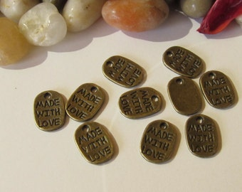 "D-02116 - 10 Pendants ""Made with Love"" antique bronze 11x8mm"